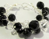 Black and Crystal Bracelet Silver Wire Crochet