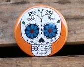 Orange Sugar Skull Day of the Dead Art Button Pin