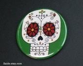 Green Sugar Skull Day of the Dead Art Button Pin