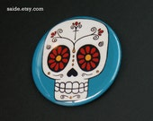 Blue Sugar Skull Day of the Dead Art Button Pin