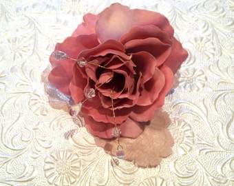 Pink Rose Hairpiece with lace