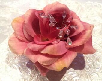 Large Pink Rose Hairpiece