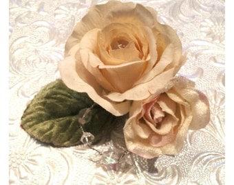 Cream rose hairpiece