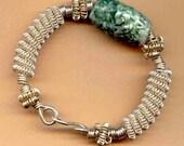 Sterling Silver and Carved Jasper  Bangle  Bracelet