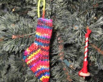 Insouciant Studios Handknit Mini Merino  Sock Stocking Decoration Ornament