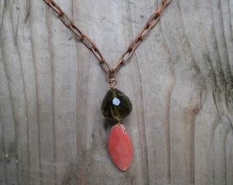 Insouciant Studios Sacred Nature Necklace Copper Chalk Coral and Smoky Quartz Desert Sunrise