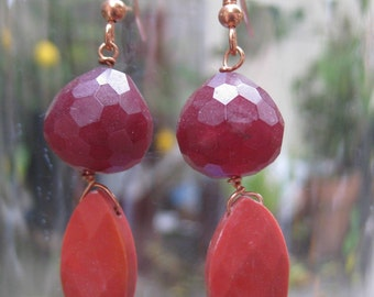 Insouciant Studios Wine Earrings Agate Coral