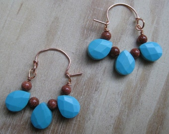 Insouciant Studios Byzantium Collection Earrings Turquoise Copper Goldstone and Copper