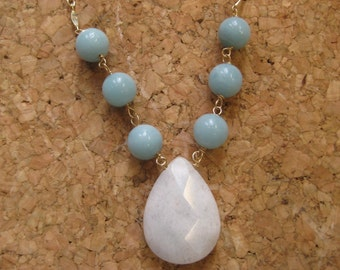 Insouciant Studios Whitecap Necklace Amazonite and Snow Quartz