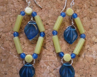 Insouciant Studios Shrub Earrings Prenhite Agate and Olive Jade Serpentine