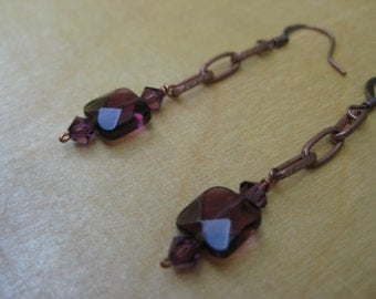 Insouciant Studios Parlour Earrings Vintage Chain with Amethyst