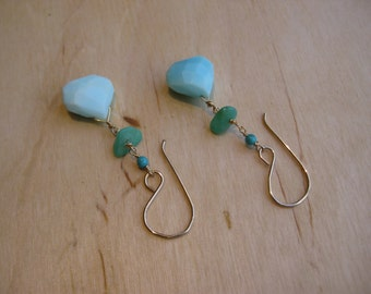 Insouciant Studios Spring Tide Earrings Hemimorphite & Peruvian Opal