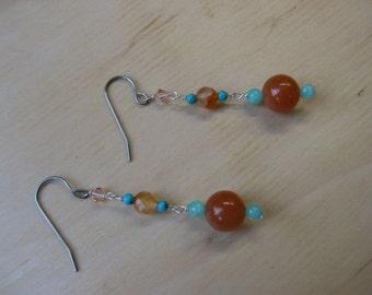 Insouciant Studios Desert Bloom Earrings Turquoise & Carnelian