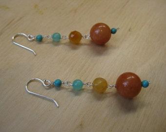 Insouciant Studios Desert Palette Earrings Turquoise & Carnelian