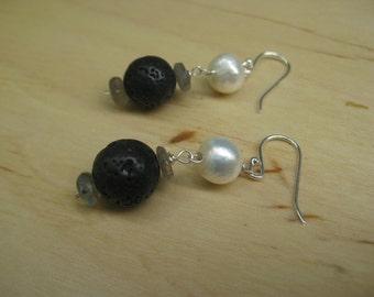 Insouciant Studios Pressure Earrings Black Lava White Pearl Labradorite