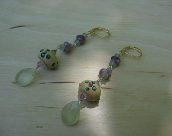 Insouciant Studios Tea Party Earrings Floral Lampwork and Jade