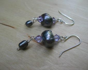 Insouciant Studios Dusk Earrings Sterling Silver Gray Pearls