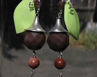 Insouciant Studios Oak blossom Earrings Sterling Silver Faceted Agate Gaspeite Leaf Copper Goldstone
