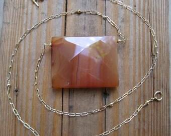Insouciant Studios 14 k GF Orange Agate Triptych Collection Necklace