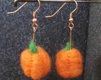 Woolpops Pumpkin Earring Needle Felting Mini-kit