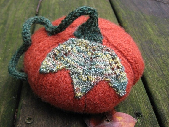 Woolpops Small Hand Knit Felted Wool Pumpkin Autumn Decor Photo Prop