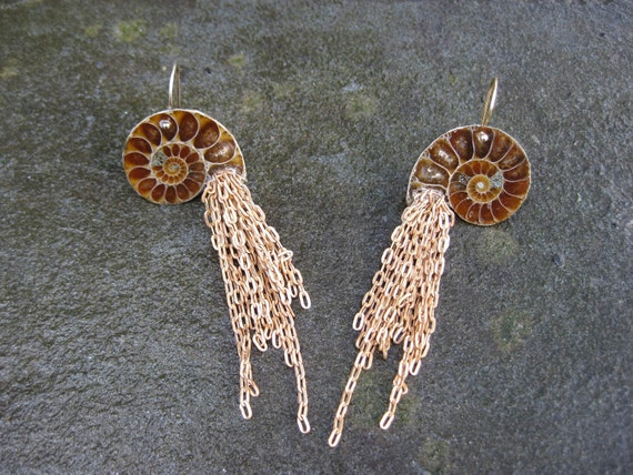 Insouciant Studios Nautilus Ammonite Earrings Chain Tassel