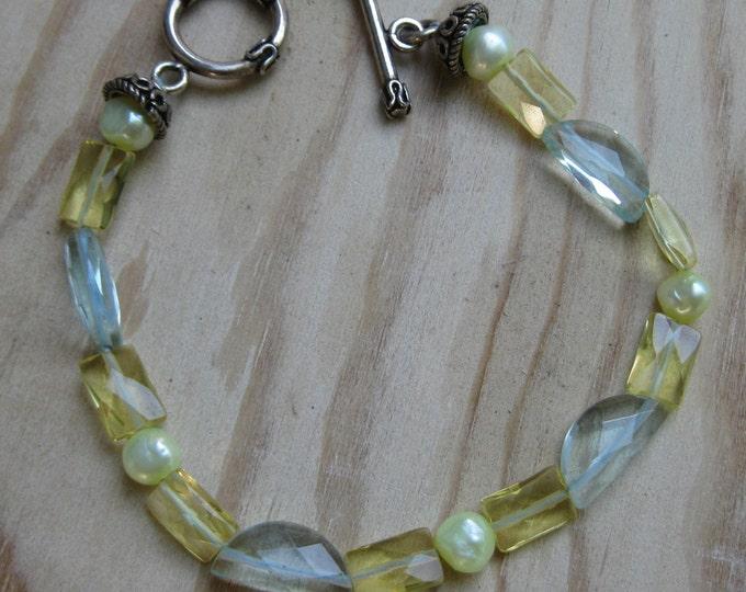 Insouciant Studios Sunlit Bracelet Sparkly Quartz and Pearls