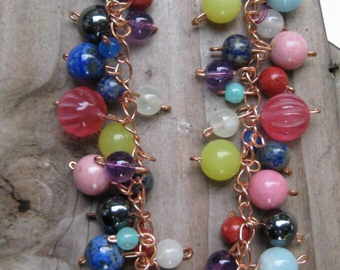 Insouciant Studios Rainbow Bubble Earring and Bracelet Set Gemstones