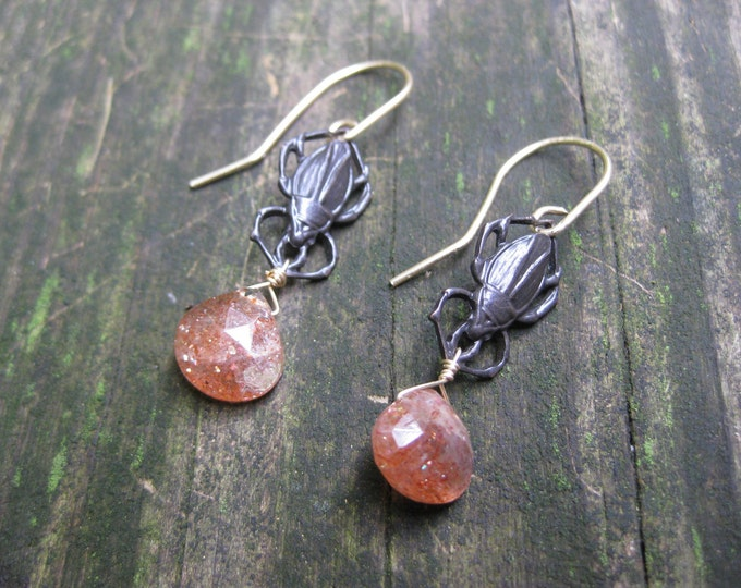 Insouciant Studios Scarab Earrings Oregon Sunstone and Antiqued Brass