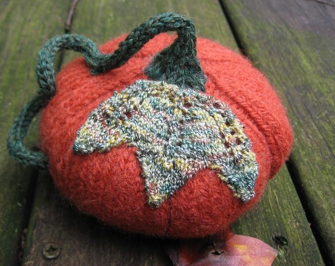 Woolpops Small Hand Knit Felted Wool Pumpkin Autumn Decor Photo Prop