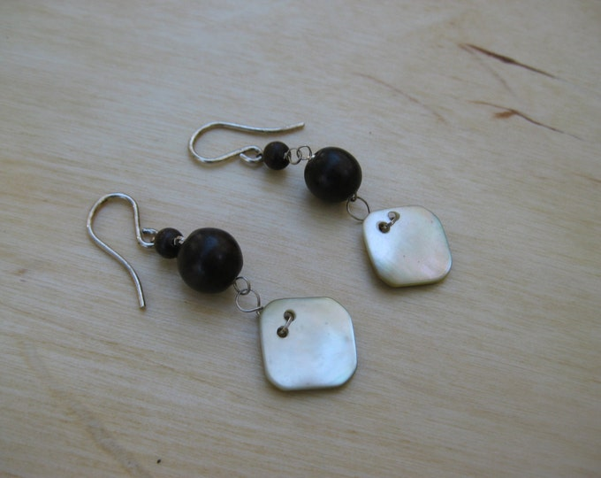 Insouciant Studios Buttons Earrings Wood and Antique Mother of Pearl Buttons