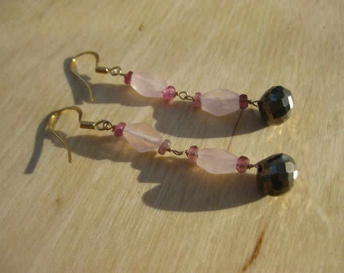 Insouciant Studios Companion Earrings Watermelon Tourmaline Pyrite and Rose Quartz