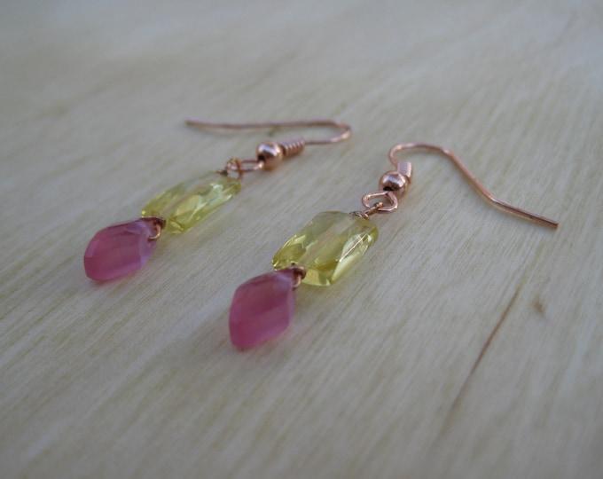 Insouciant Studios Petal Earrings Raspberry and Lemon Quartz