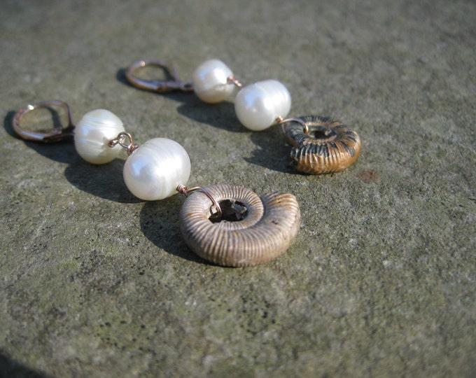 Insouciant Studios Ocean Foam Earrings Ammonite and Pearl
