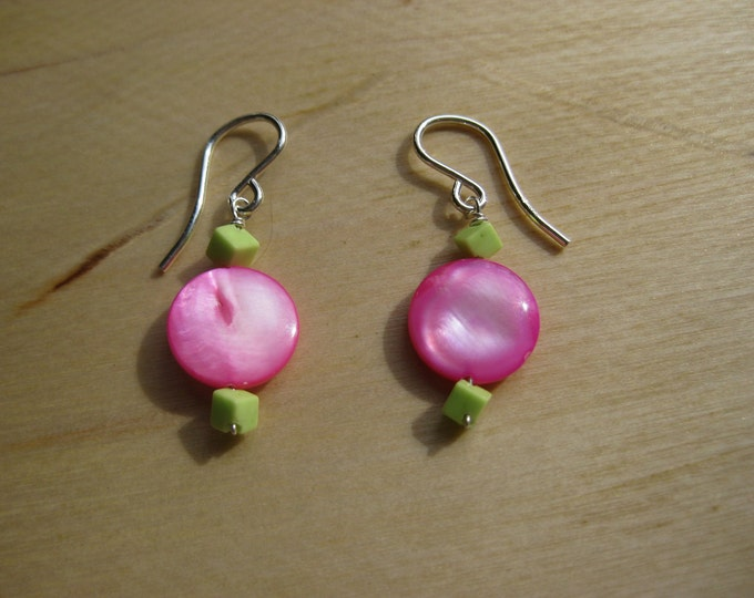 Insouciant Studios Simple Neon Earrings Sterling Silver Pink Shell Gaspeite