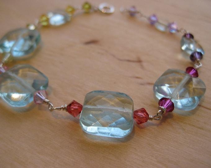 Insouciant Studios Warm and Pink Bracelet Aqua Quartz and Swarovski Crystals