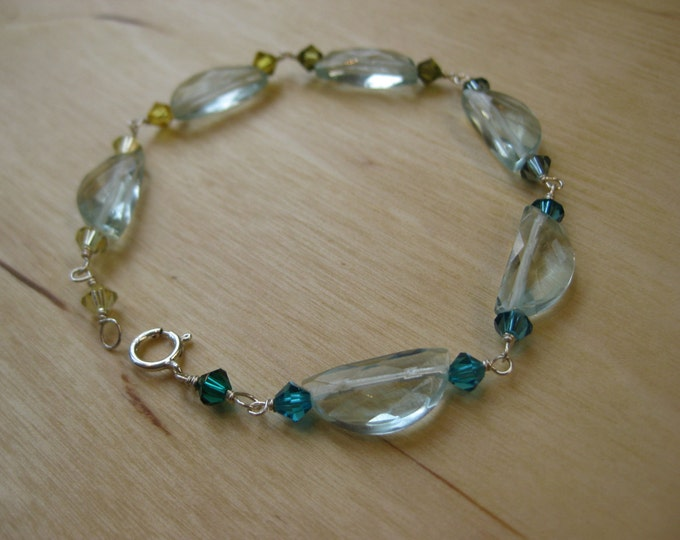 Insouciant Studios Awash Bracelet Aqua Quartz and Swarovski Crystals