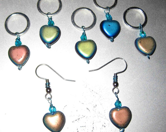 Woolpops Lonely Hearts Club 5 Stitch Markers and Earrings Set