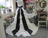 RESERVED For VcPLZ 2nd of 2 Layaway payments Upcycled Ivory / Black wedding gown Size 14 Satin Bridal  dress with long train