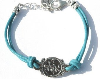 Turquoise Leather Kabbalah Protection Bracelet