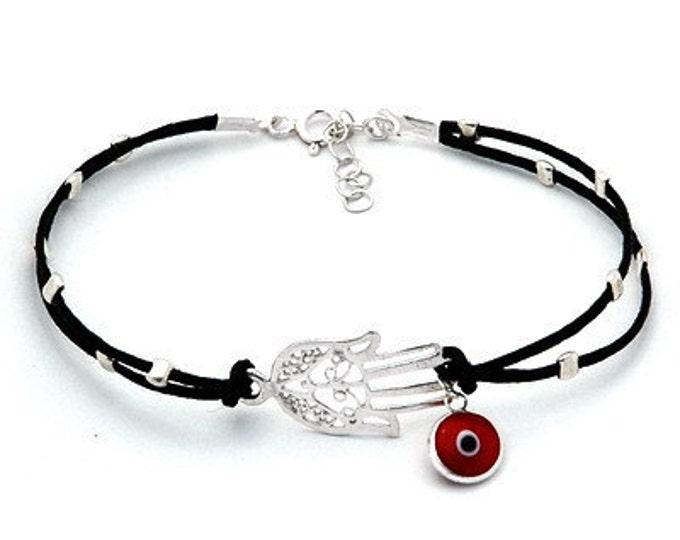 Sterling Silver Hamsa & Evil Eye Black Bracelet