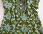 SALE Boutique Peasant Dress in Olive Aqua Flourish Size 12 months Only Ready to Ship