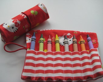 Crayon Roll Hello Kitty  in Red Includes 8 Crayons