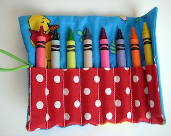 Crayon Roll Winnie the Pooh, Tigger and Piglet Includes 8 Crayons