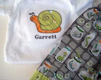 Boy's Outfit Michael Miller Backyard Baby with Personalized Snail Applique for Baby and Toddler Custom Boutique