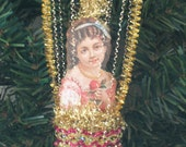 Dresden Style Christmas Ornament - I love my little Hot Air Balloon
