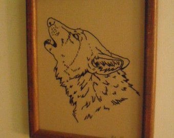 The Howling - Hand Stitched - Redwork- Wolf