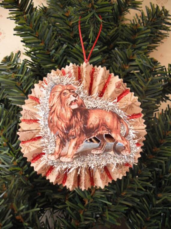 ROAR- Circus Lion - Dresden Style Christmas Ornament