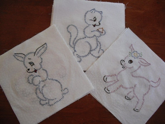 Hand Embroidered Quilt Blocks - 12 Baby Animals-FREE Shipping in the USA