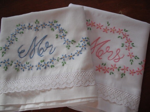 Mr And Mrs Embroidered Pillowcases - Wedding gift -Shower Gift- Cottage Chic